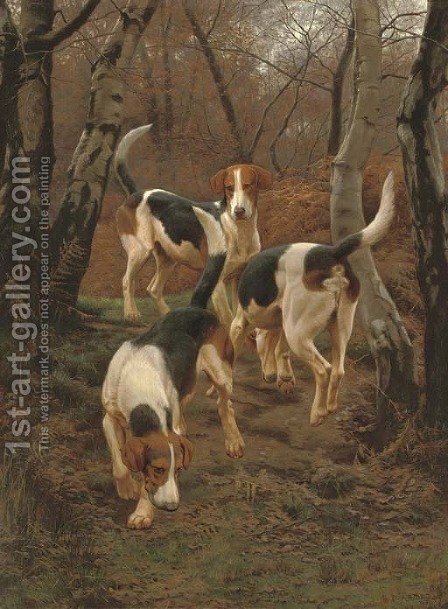 Hounds in Bracken by Edward Algernon Stuart Douglas - Reproduction Oil Painting