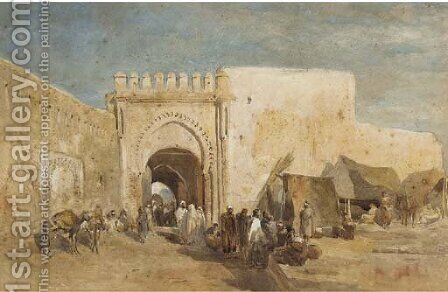 Figures before a souk by Edward Alfred Angelo Goodall - Reproduction Oil Painting