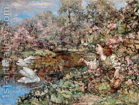 Swan Pond by Edward Atkinson Hornel - Reproduction Oil Painting