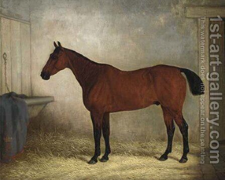 A bay hunter in a stable by Edward Brown - Reproduction Oil Painting