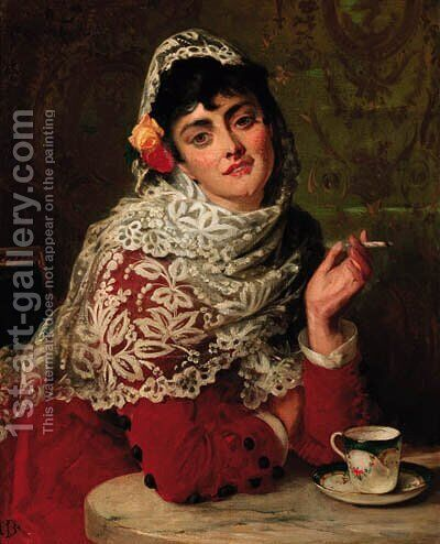 A Spanish Beauty 2 by Edward Charles Barnes - Reproduction Oil Painting