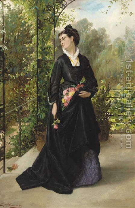 The lady in the arbour by Edward Charles Barnes - Reproduction Oil Painting
