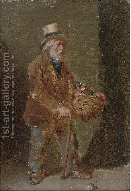 The flower seller by Edward Charles Barnes - Reproduction Oil Painting