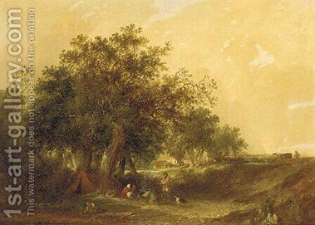 A gypsy encampment by Edward Charles Williams - Reproduction Oil Painting