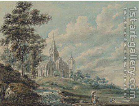 Glasgow Cathedral from the north-east by Edward Dayes - Reproduction Oil Painting