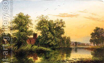 A Tranquil Stretch Of The River At Sunset by Edward H. Niemann - Reproduction Oil Painting