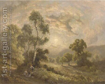 Children playing on a hillside path by Edward Henry Holder - Reproduction Oil Painting