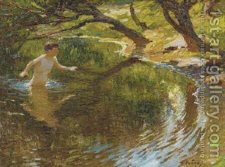 Bathing Boy by Edward Henry Potthast - Reproduction Oil Painting