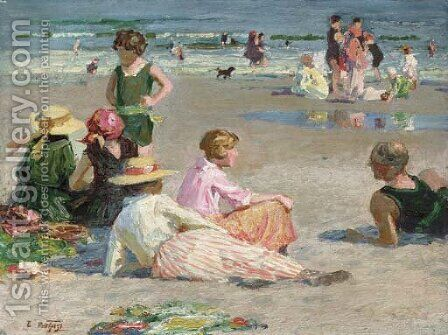 Manhattan Beach by Edward Henry Potthast - Reproduction Oil Painting