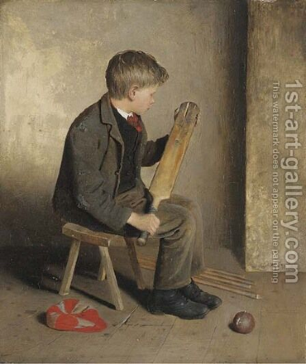 The Young Cricketer by Edward Holliday - Reproduction Oil Painting