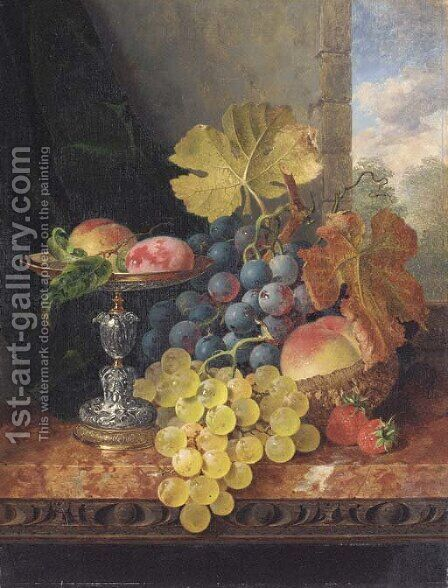 Still life with plums in a silver tazza, a peach, black and white grapes in a basket, and strawberries on a marble ledge by Edward Ladell - Reproduction Oil Painting