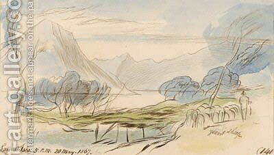 Lago d'Iseo, Lombardy, Italy by Edward Lear - Reproduction Oil Painting
