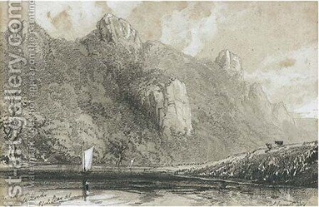 Morwell Rocks on the River Tamar by Edward Lear - Reproduction Oil Painting