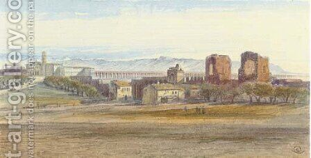 St John Lateran and the Claudian Aqueduct, Rome, Italy by Edward Lear - Reproduction Oil Painting