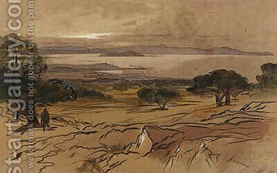 Suda Bay, Khani, Crete by Edward Lear - Reproduction Oil Painting
