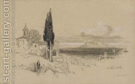 View of Civita Castellana with Mount Soracte in the distance by Edward Lear - Reproduction Oil Painting