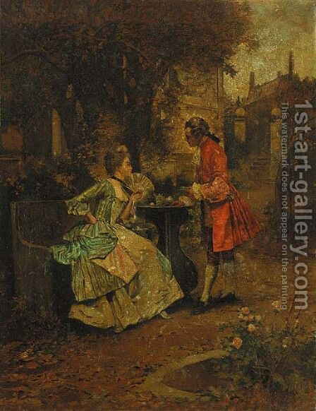 An Elegant Couple Having Tea in a Landscape by Edward Percy Moran - Reproduction Oil Painting