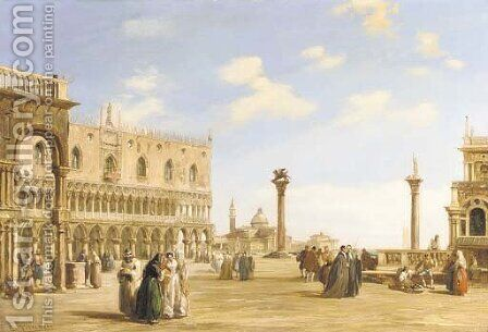 A crowd of spectators near the Doge's Palace looking east to the Church of San Giorgio Maggiore, Venice by Edward Pritchett - Reproduction Oil Painting