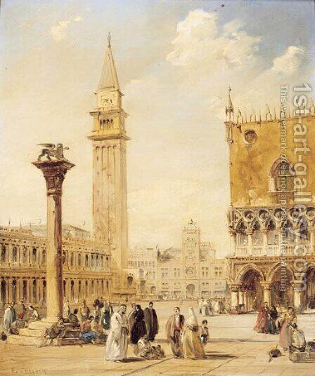 St. Mark's Square, Venice by Edward Pritchett - Reproduction Oil Painting