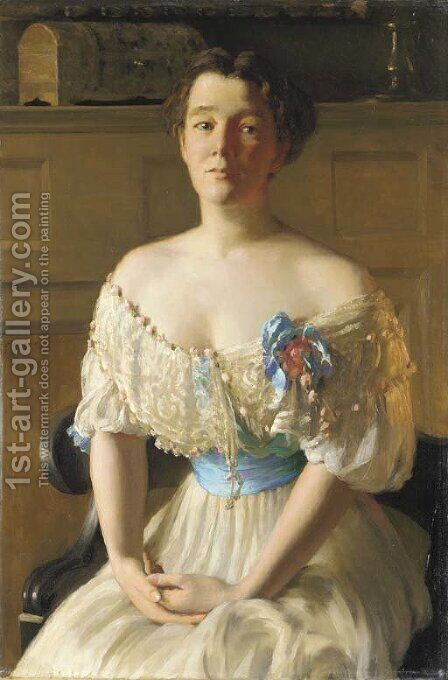 Contemplation (Portrait of Mrs. Fisher) by Edward Emerson Simmons - Reproduction Oil Painting