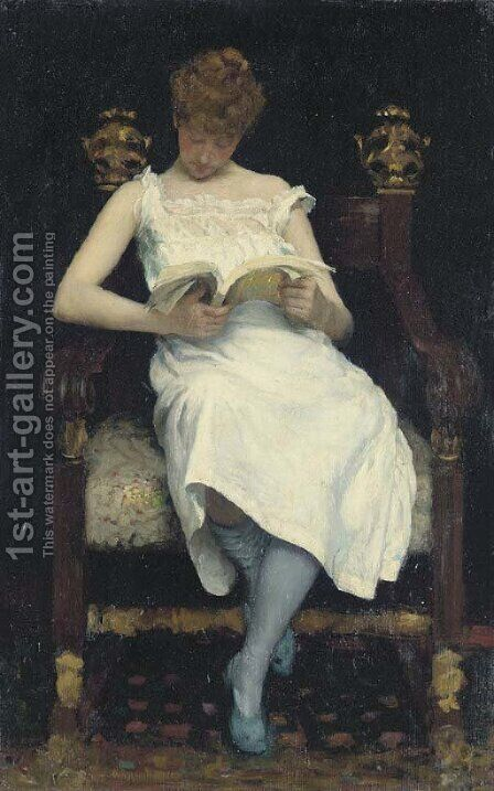 Girl Reading by Edward Emerson Simmons - Reproduction Oil Painting