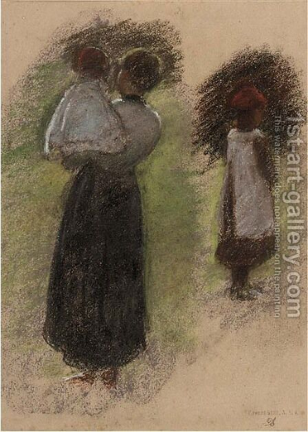 Study of a woman and two children by Edward Stott - Reproduction Oil Painting