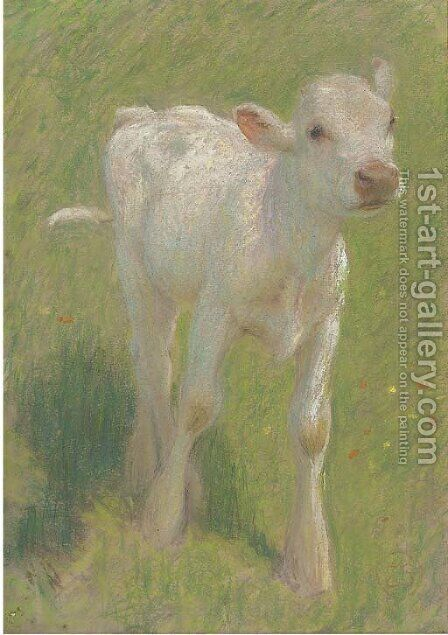 Study of a calf in a summer meadow by Edward Stott - Reproduction Oil Painting