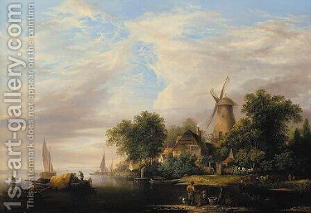A river estuary with a windmill and cottages, boats in the foreground and cattle watering at the river edge by Edward Williams - Reproduction Oil Painting