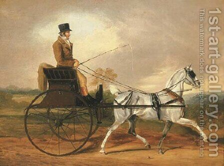 A Gentleman riding a Horse and Gig by Edwin Cooper - Reproduction Oil Painting