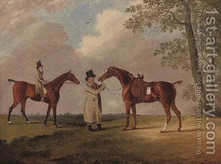 Two gentlemen with their hunters, in an extensive landscape by Edwin Cooper - Reproduction Oil Painting