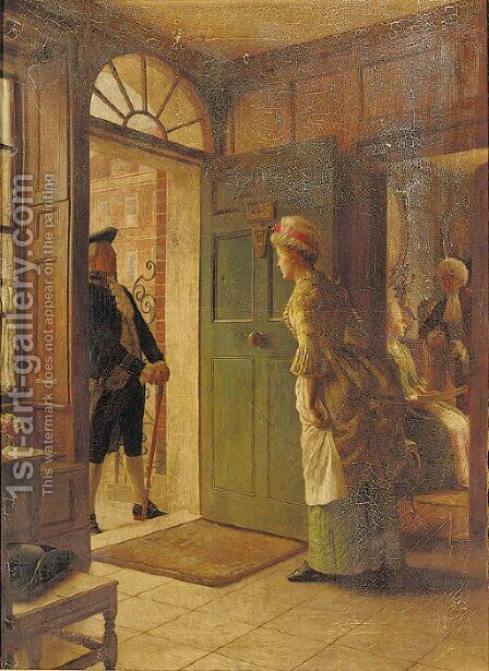 Announcing an arrival by Edward Hughes - Reproduction Oil Painting