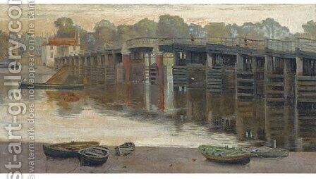 The old toll bridge, Putney by Edwin J. Lambert - Reproduction Oil Painting