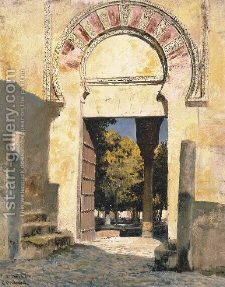 An Old Moorish Gateway - Cordova, Spain by Edwin Lord Weeks - Reproduction Oil Painting