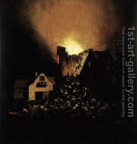A house on fire at night with peasants coming to rescue by Egbert van der Poel - Reproduction Oil Painting