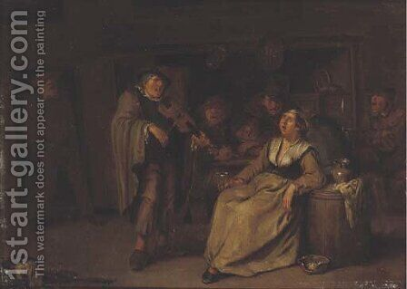 Boors making music and drinking in an inn by Egbert van, the Younger Heemskerck - Reproduction Oil Painting
