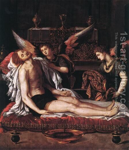 The Body of Christ with Two Angels 1600 by Alessandro Allori - Reproduction Oil Painting