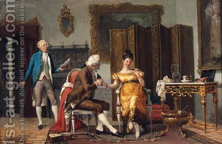 The Flirtation by Benjamin Eugene Fichel - Reproduction Oil Painting