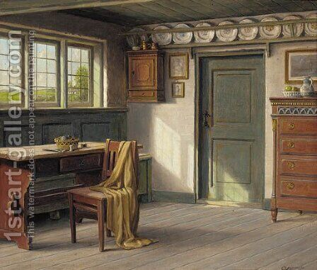 A sunlit interior by Carl Frederik Sorensen - Reproduction Oil Painting