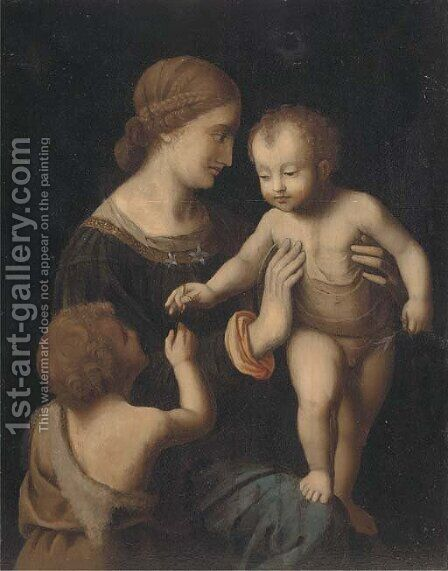 The Virgin and Child with the Infant Saint John the Baptist by (after) Bernardino Luini - Reproduction Oil Painting