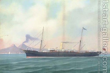 The British steam vessel Victoria in Neapolitan waters by (after) A. De Simone - Reproduction Oil Painting