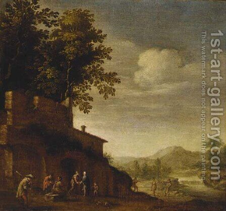 Peasants resting and dancing with a piper before a ruin by (after) Abraham Bloemaert - Reproduction Oil Painting