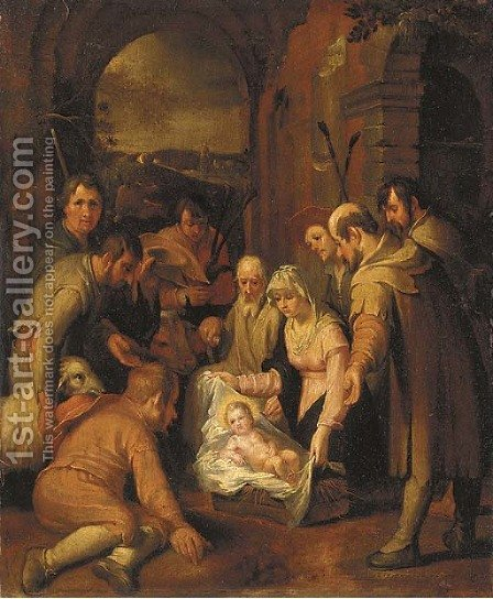 The Adoration of the Shepherds 4 by (after) Abraham Bloemaert - Reproduction Oil Painting