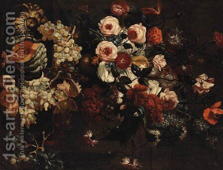 Roses, Carnations, Peonies and other Flowers by (after) Abraham Breughel - Reproduction Oil Painting