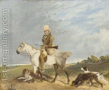 A huntsman on his pony with his gundogs by (after) Cooper, Abraham - Reproduction Oil Painting