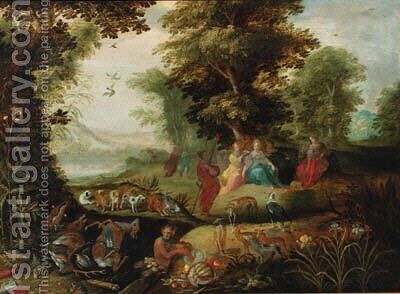 Diana and her nymphs resting after the chase by (after) Abraham Govaerts - Reproduction Oil Painting