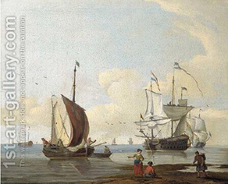Dutch men'o-war and other shipping in calm seas, figures on a beach in the foreground by (after) Abraham Jansz. Storck - Reproduction Oil Painting