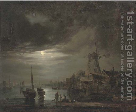 Figures on the bank of a river, by moonlight by (after) Abraham Pether - Reproduction Oil Painting