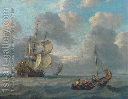 A Dutch warship running inshore by (after) Abraham Storck - Reproduction Oil Painting