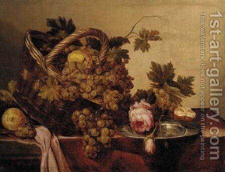 A basket of grapes and apples, with roses and a pewter plate on a table by (after) Abraham Hendrickz Van Beyeren - Reproduction Oil Painting