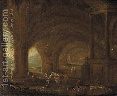 A traveller among classical ruins in a grotto by (after) Abraham Van Cuylenborgh - Reproduction Oil Painting